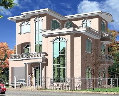 1m实用三层新农村自建房_三层房屋设计图_自建房设计 - 轩鼎房屋图纸