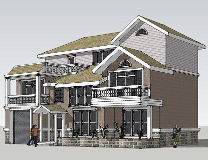 7x18.0米三层景观别墅设计图_复式客厅豪华农村自建房设计图纸图片