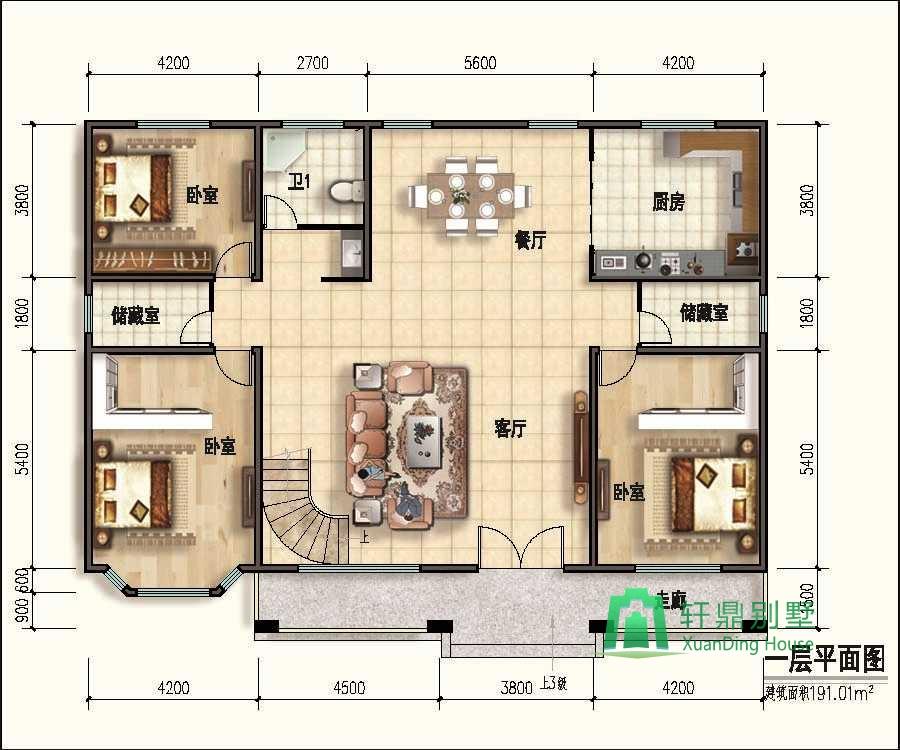 高端二层自建房设计图,内设螺旋状楼梯,占地190平方,二层复式别墅