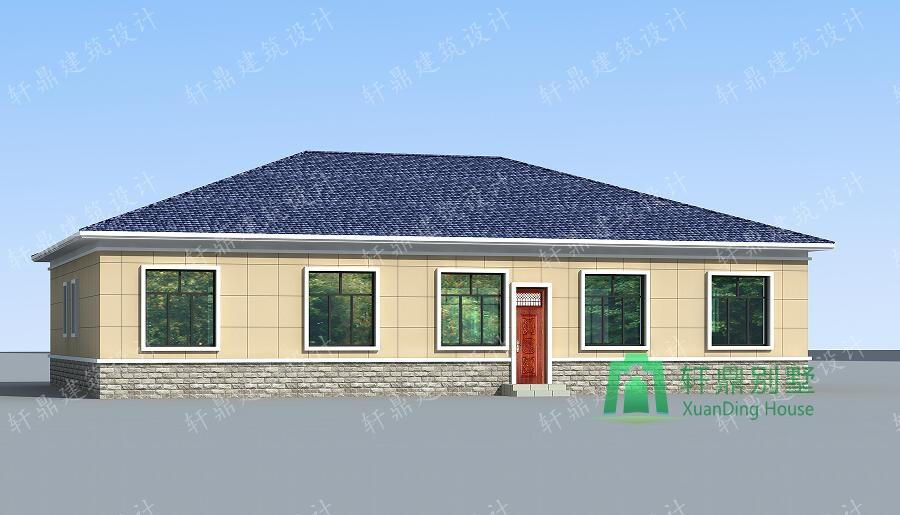1层农村自建房屋设计图,占地256㎡,19.5m*13.8m,一层自建别墅
