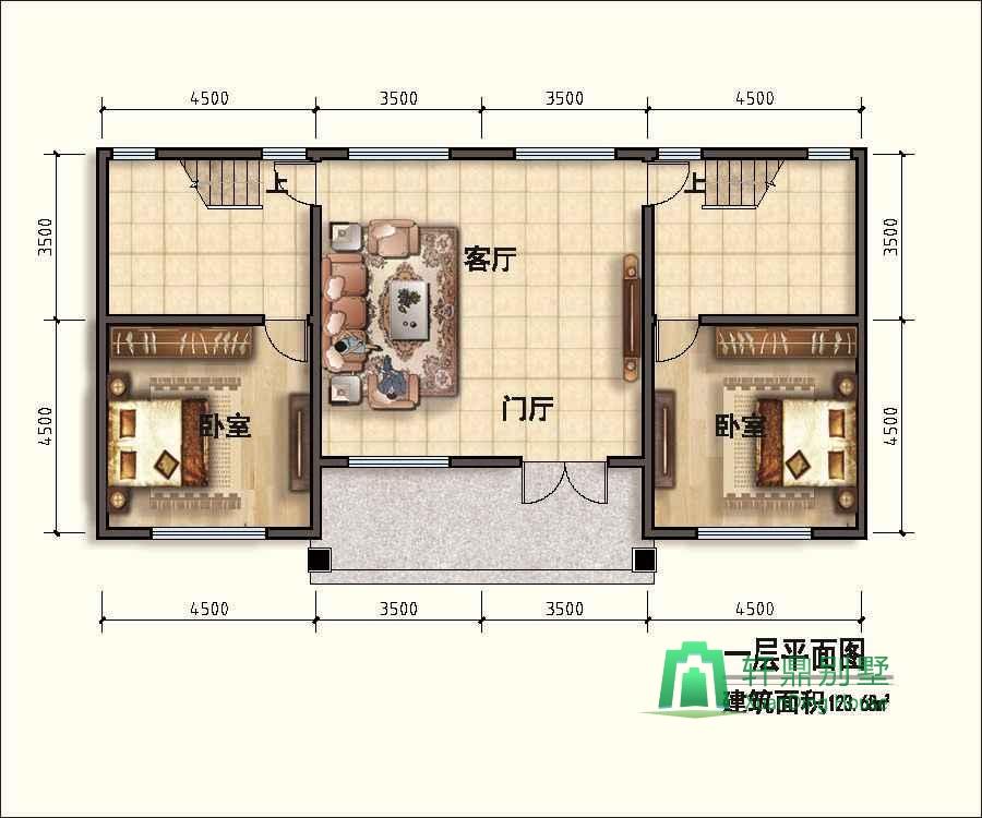 首页 图纸大全 双拼房屋图纸 新中式二层自建房设计图,占地120平双拼