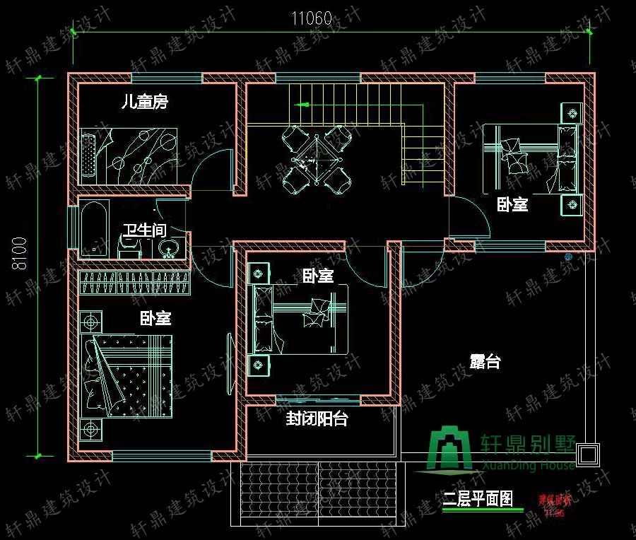 11x8米实用农村小别墅设计图_小房子设计图