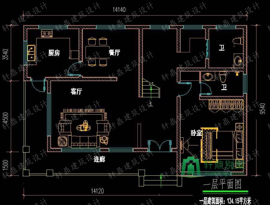 14x10米房子设计图带效果图,农村自建房户型推荐,图纸