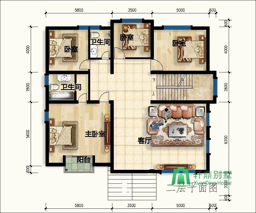 14x12米三层新颖大方自建房设计图_轩鼎建筑出品