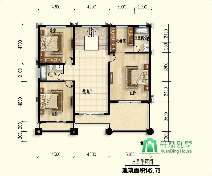 首页 图纸大全 三层房屋图纸 13x14米复式客厅大气三层农村自建房别墅