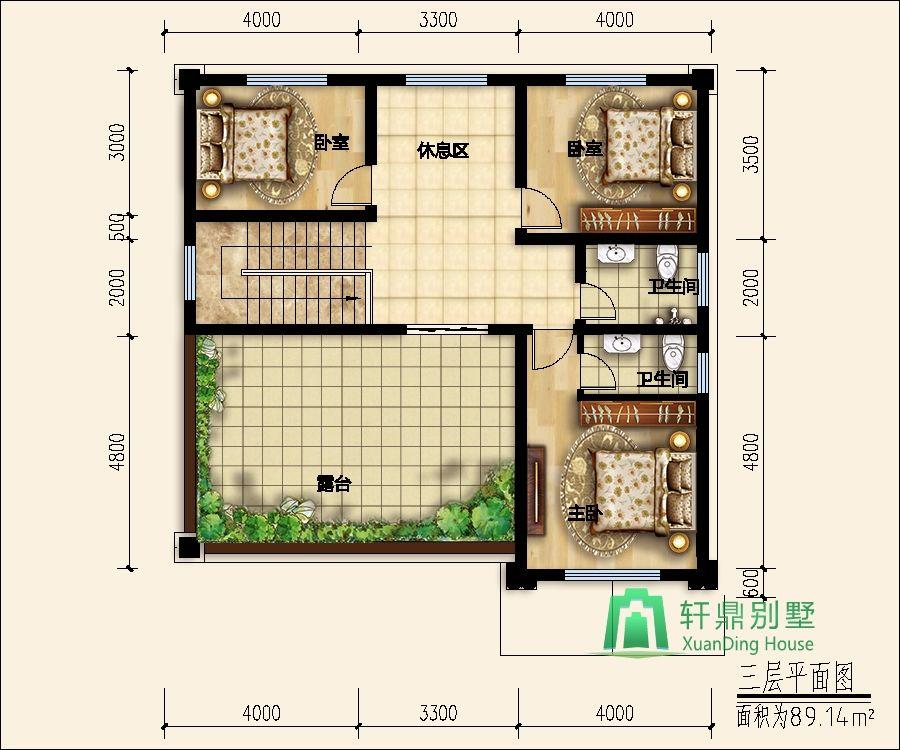 复式三层自建别墅设计图,11.54m*12.34m - 轩鼎房屋