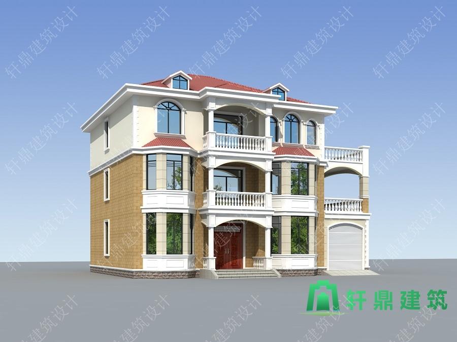 精致三层自建别墅设计图,带有室内车库,布局完善合理