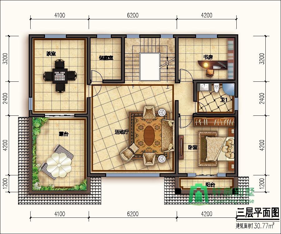 三层房屋图纸 高端中式自建别墅设计图,奢华大气的三层自建房屋,轩鼎