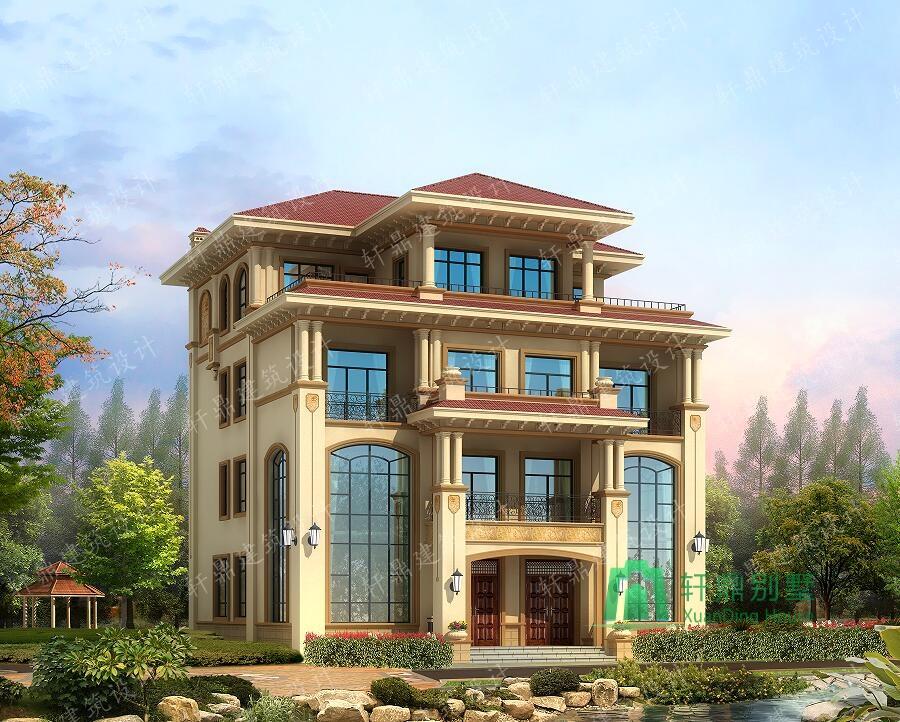 四层复式双拼别墅设计图,欧式豪华自建别墅,占地190平方米,高端大气
