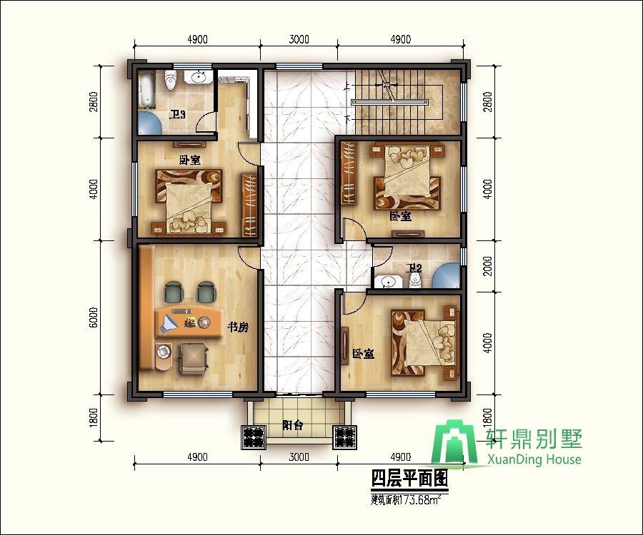 面宽13米,进深15米四层半别墅设计图,经济实用