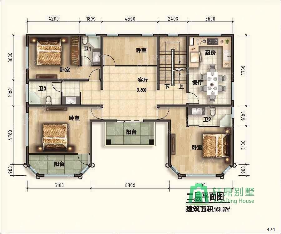 楼顶平面图_二层平屋顶自建房设计图可一梯两户,可做屋顶花园,占地172 ...