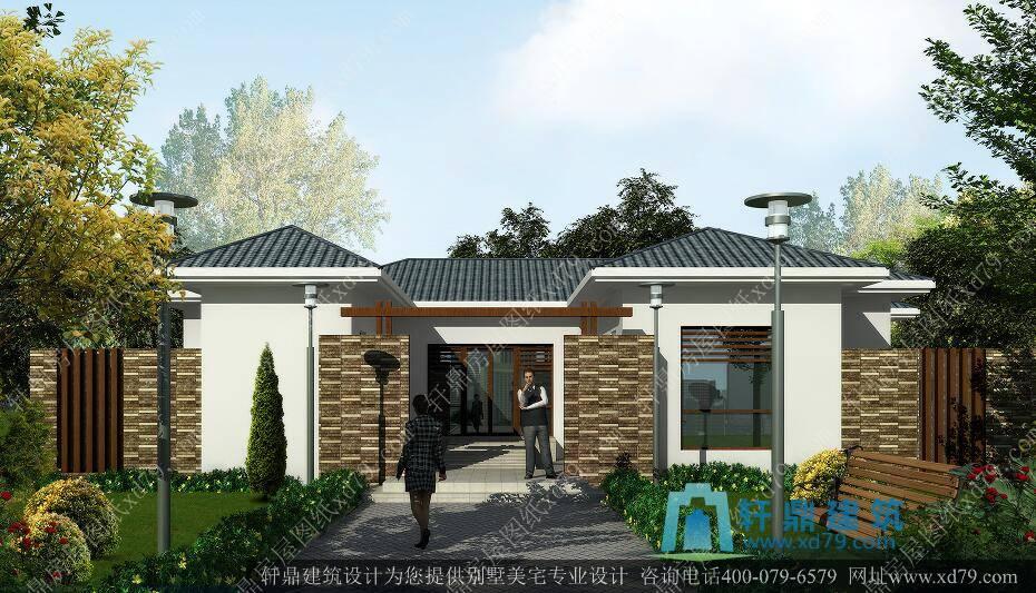 1一层带花园别墅设计图_农村一层别墅房屋设计图_一层房子图纸 - 轩鼎图片