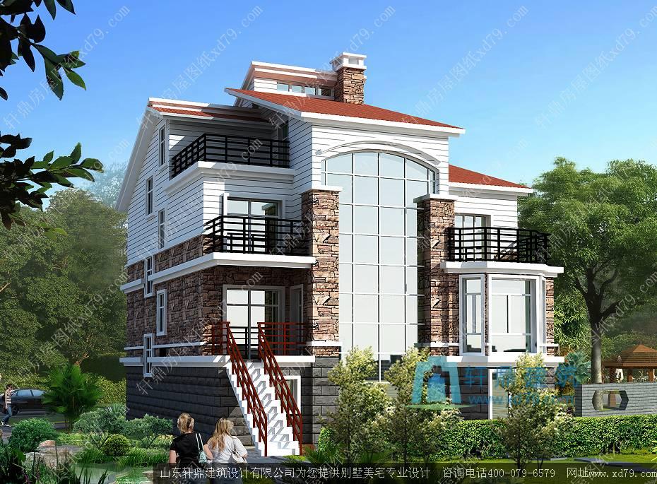 5m带半地下室三层别墅设计图_三层带地下室农村房屋设计图 - 轩鼎房屋图片