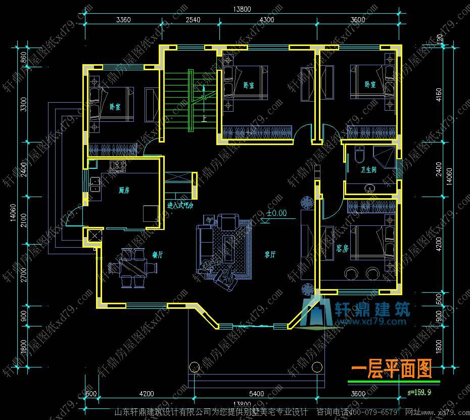 8x14.1米二层农村自建房图纸_简单二层小别墅 - 轩鼎房屋图纸图片
