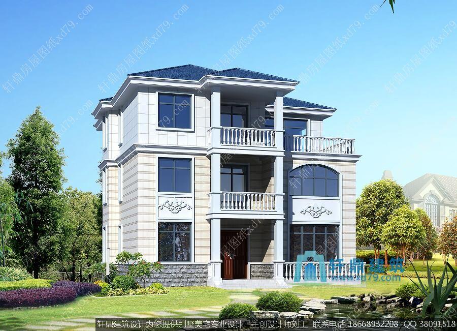 新农村三层别墅设计图12x12米 - 轩鼎房屋图纸