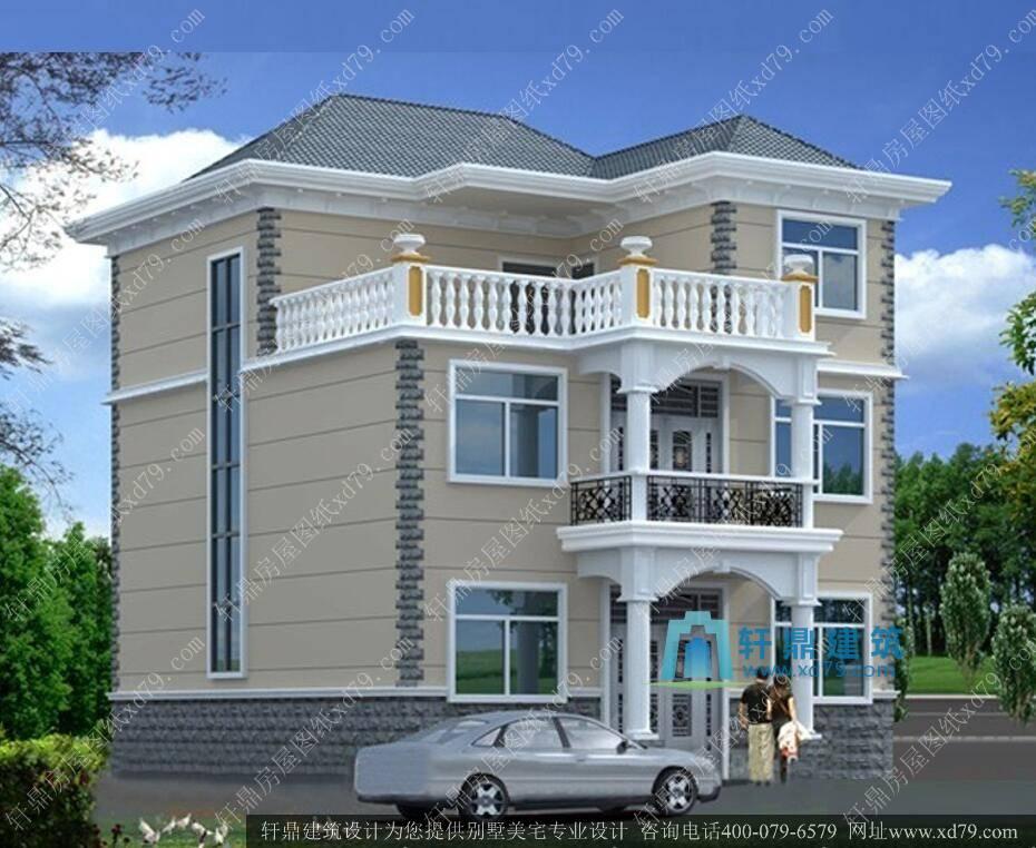 12*11米三层农村房屋设计图_实用农村房子设计图 - 轩鼎房屋图纸图片