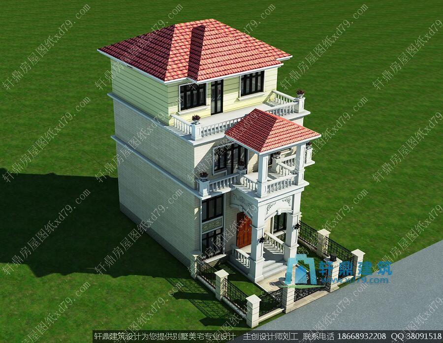8x9米三层带夹层农村小别墅施工图_自建房优化户型设计图 - 轩鼎房屋图片